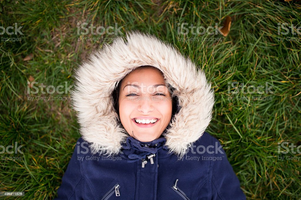 Happy eskimo girl stock photo