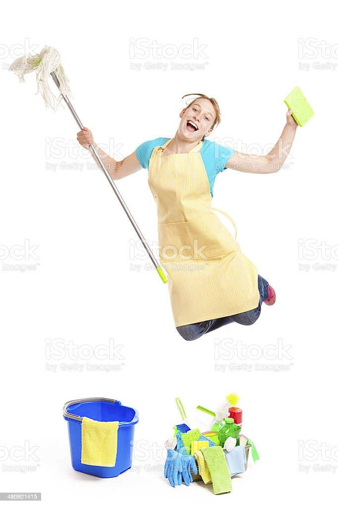 Happy Excited Housewife with House Cleaning Tool royalty-free stock photo