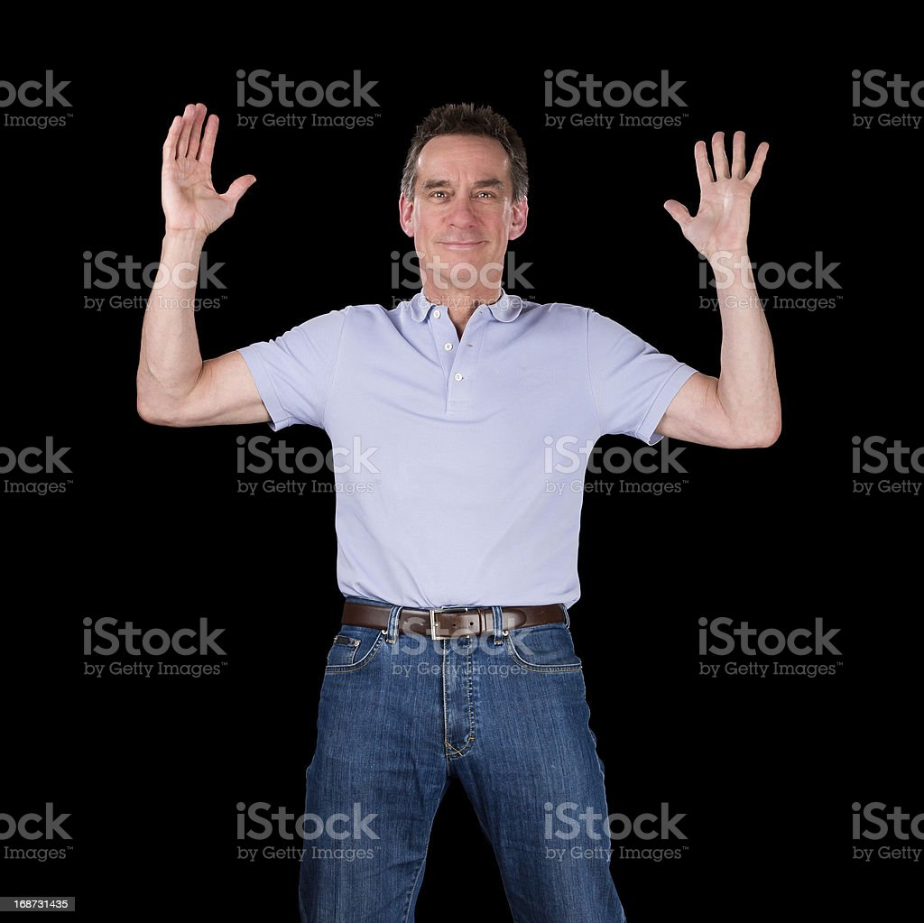 Happy Excited Man Hands Raised in Air royalty-free stock photo