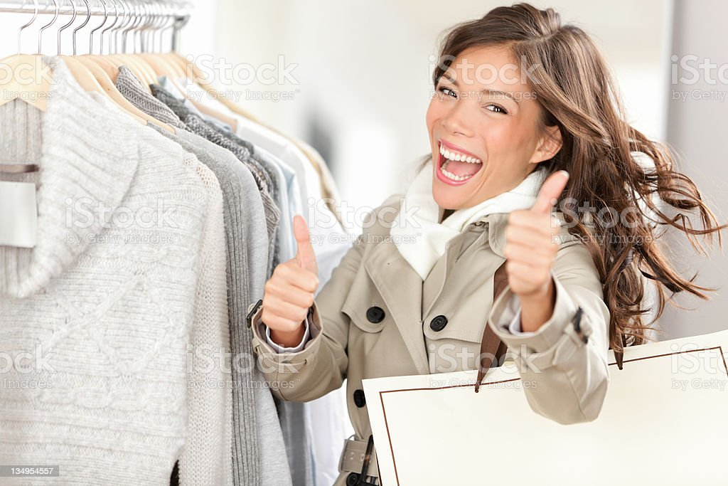Happy excited shopping woman royalty-free stock photo