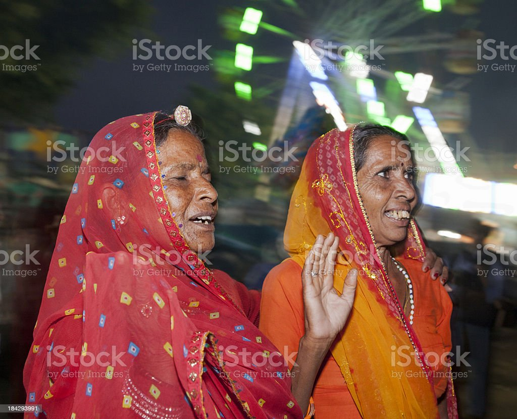 Happy excited tribal women at fair Rajasthan India royalty-free stock photo