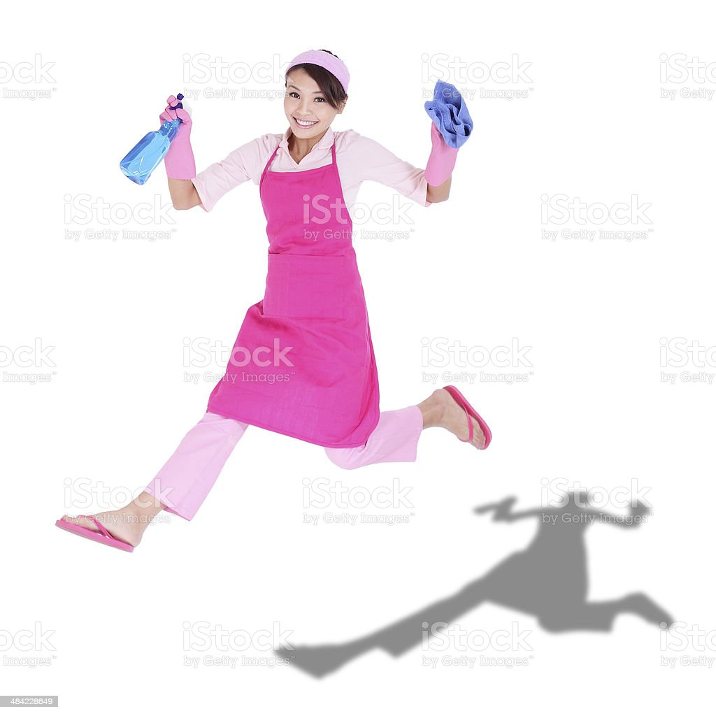 happy excited woman housewife stock photo