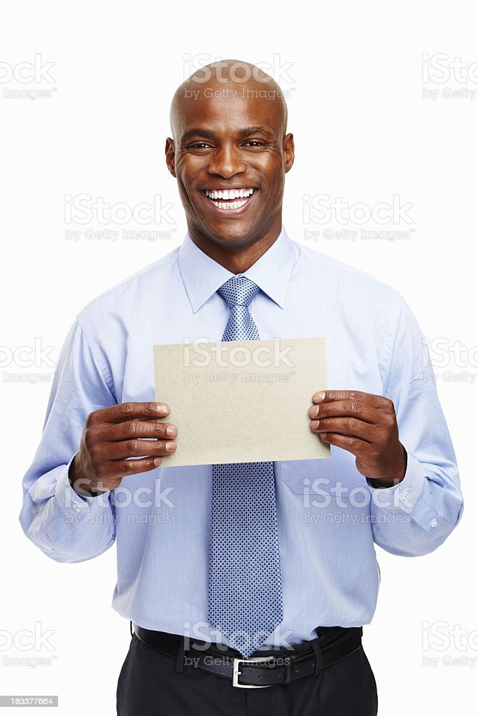 Happy executive showing a blank card royalty-free stock photo