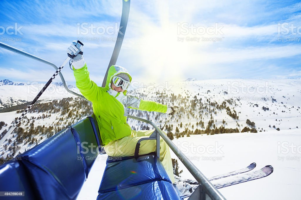 Happy, exited skier stock photo