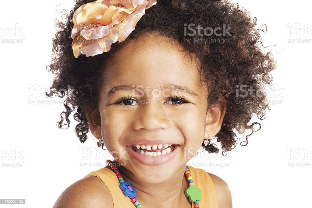 Happy expressive little girl stock photo