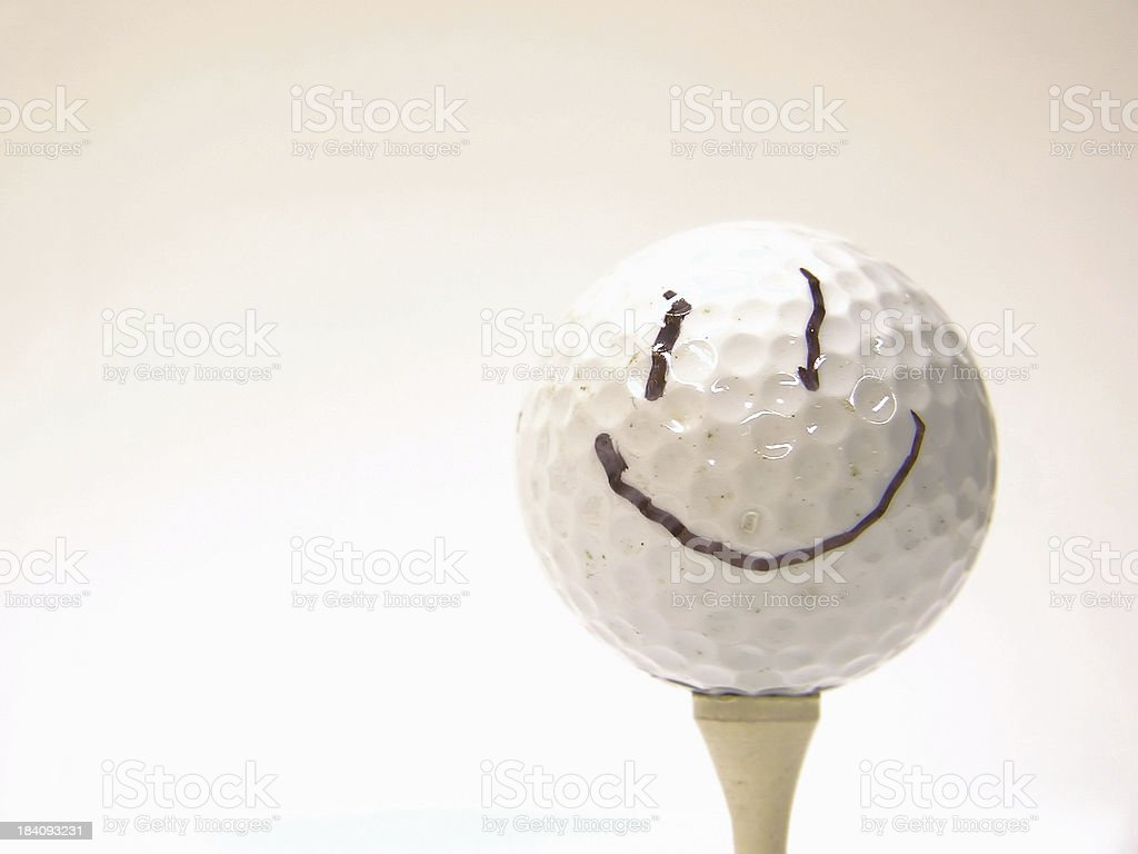 Happy Face Golf Ball stock photo