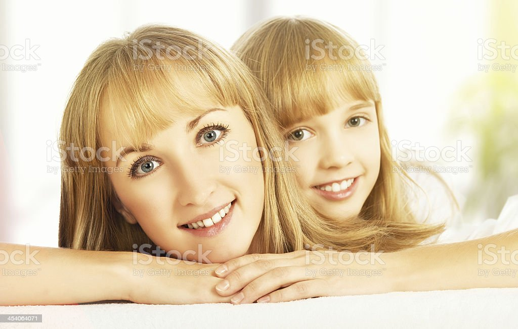 happy faces of the mother and daughter royalty-free stock photo