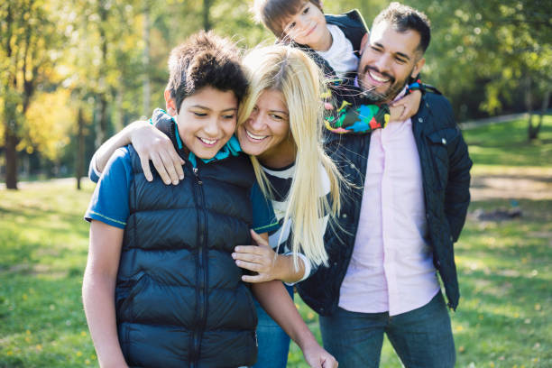 Happy family always together stock photo