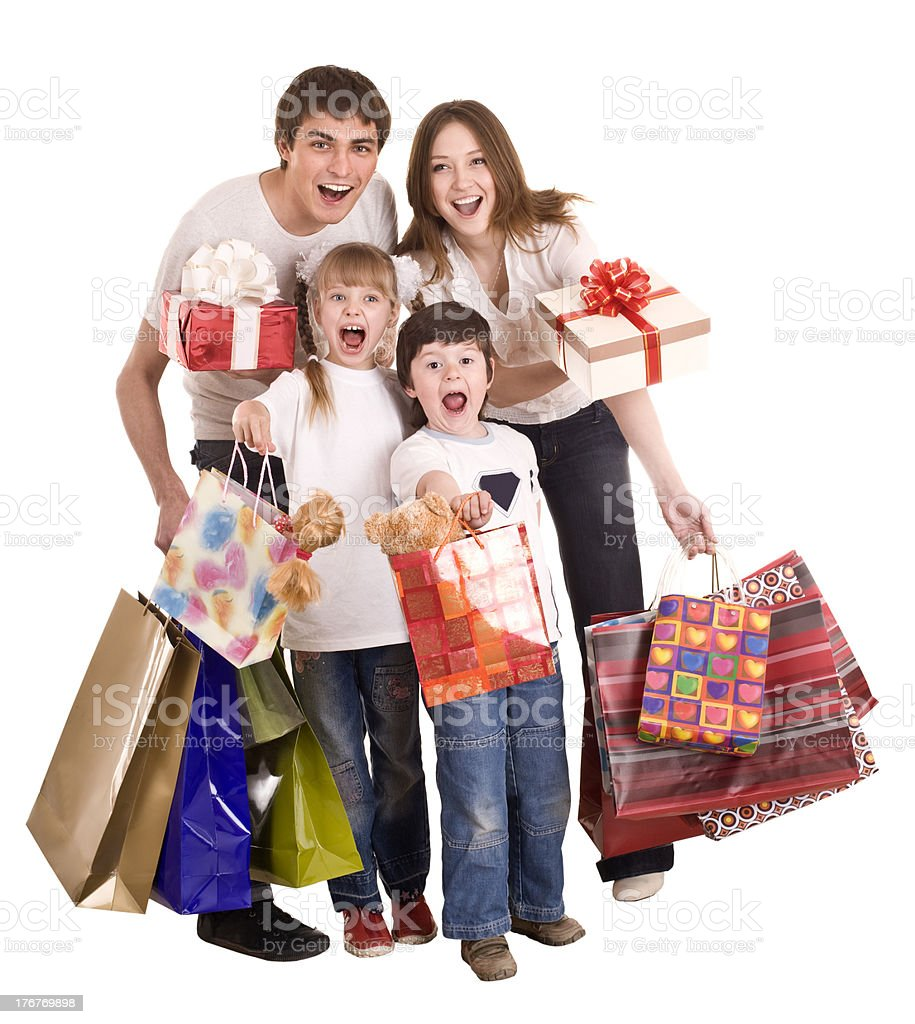 Happy family and children shopping. royalty-free stock photo