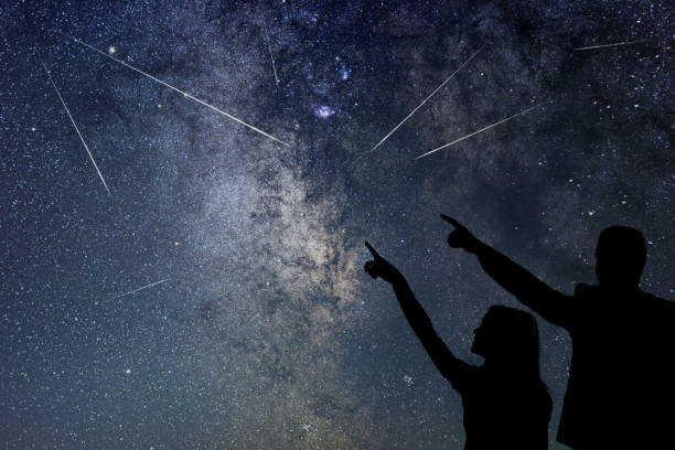 happy family are watching meteor shower. nigh sky. - shooting stars stock photos and pictures
