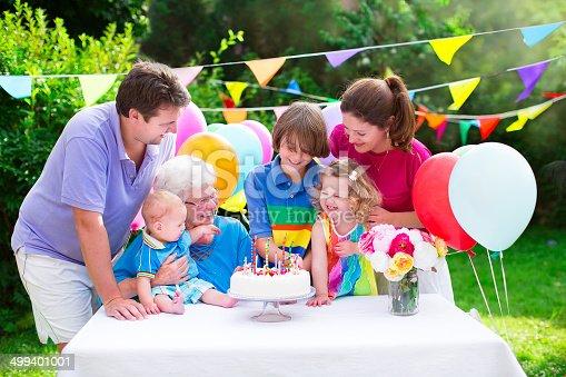 istock Happy family at a birthday party 499401001