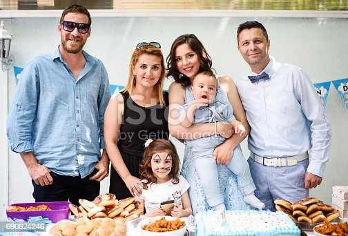 istock Happy family at a birthday party 690624246