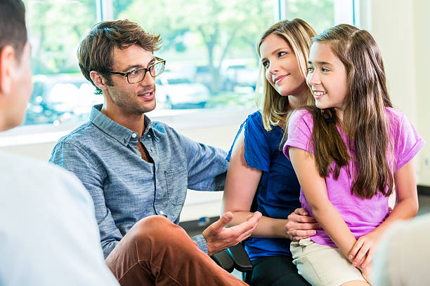 happy family at guidance counseling - school counselor stock pictures, royalty-free photos & images