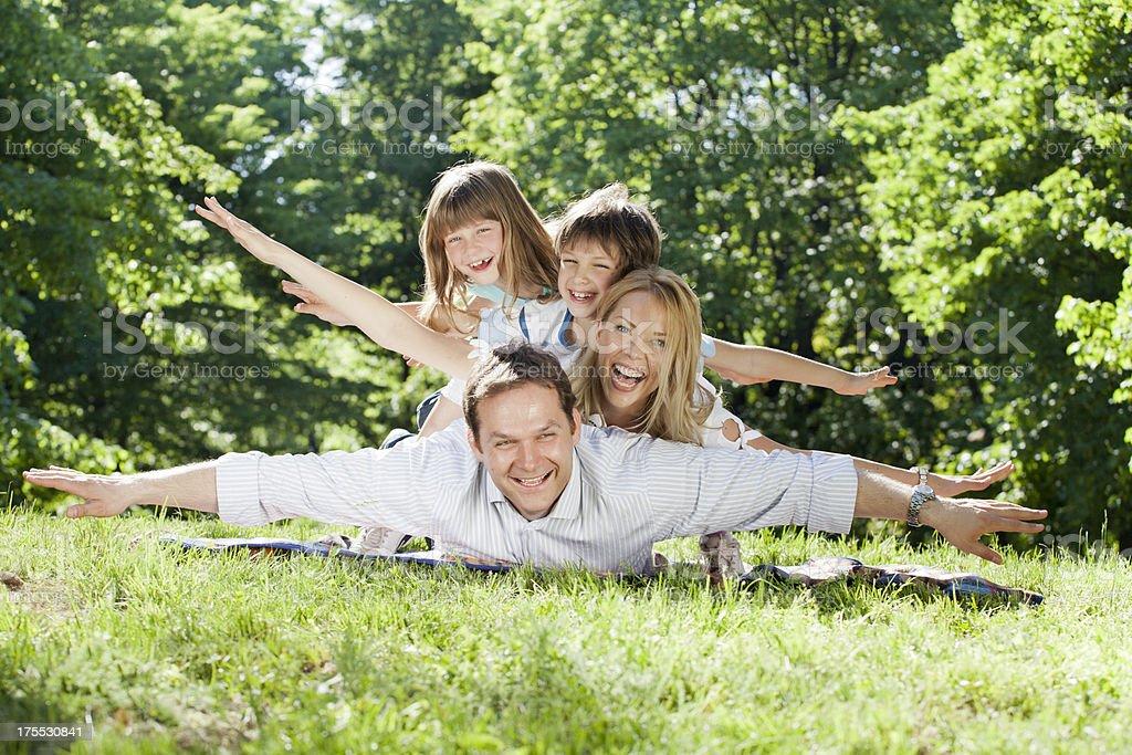 Happy family at the nature royalty-free stock photo