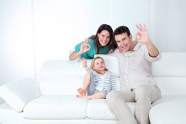 happy family being positive stock photo
