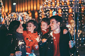 istock Happy family celebrating Christmas and New Year together 1034816026