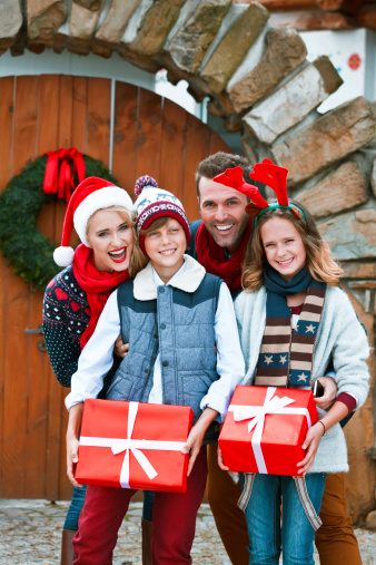 Happy Family Christmas Portrait Stock Photo - Download Image Now