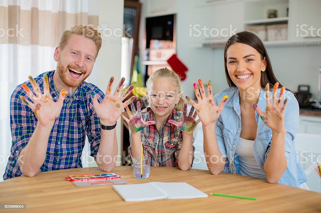 Happy family coloring foto royalty-free