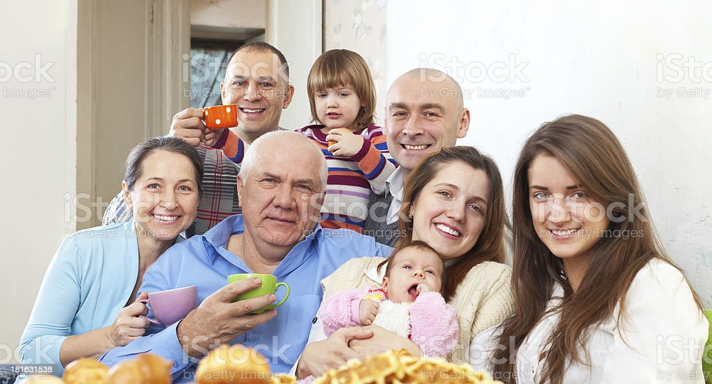 happy family communicate over tea at home royalty-free stock photo