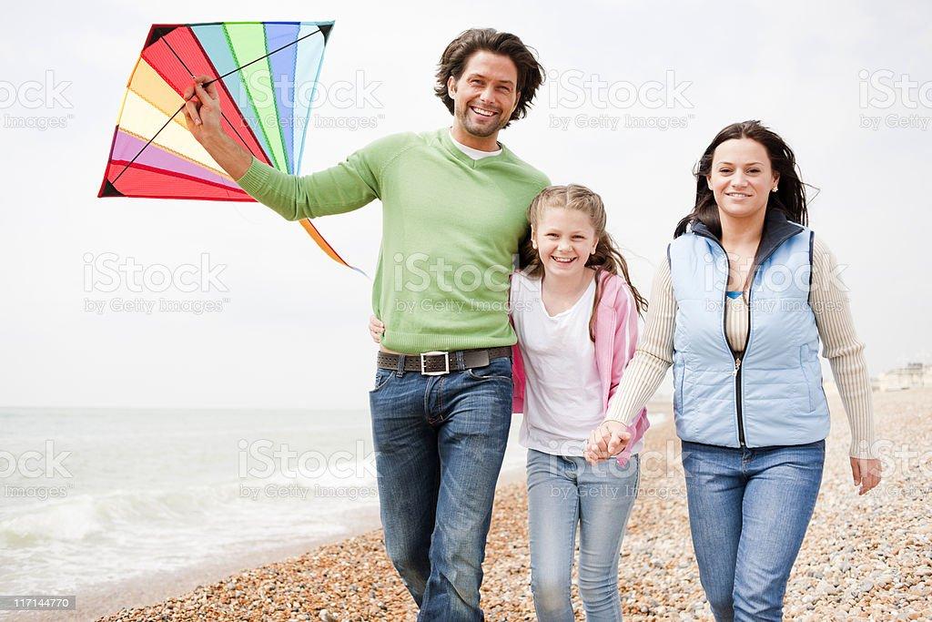 Happy Family Day at the Beach royalty-free stock photo