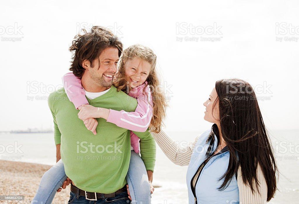 Happy Family Day at the Beach stock photo