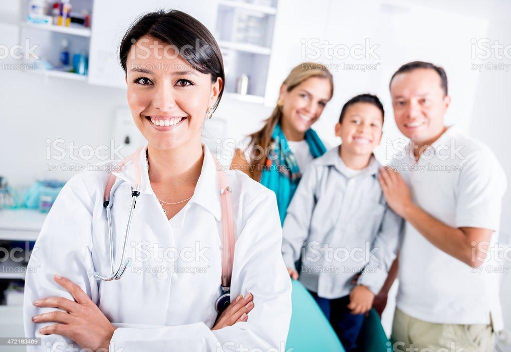 Happy family doctor stock photo