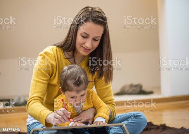 Happy Family Drawing Stock Photo - Download Image Now