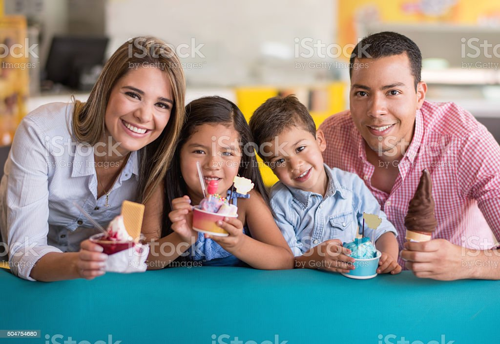 Happy Family Eating Ice Creams Stock Photo - Download ...