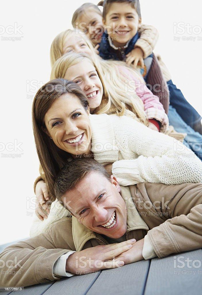 Happy family enjoying outdoors on a vacation royalty-free stock photo