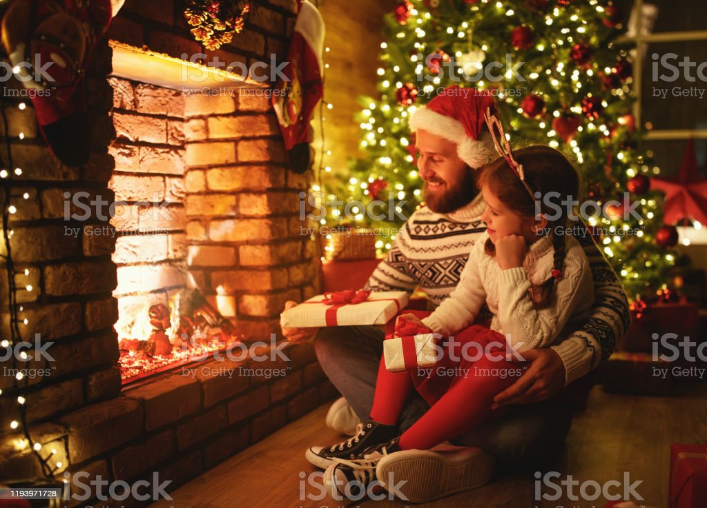 Happy Family Father And Child Daughter Giving Christmas Gift Stock Photo Download Image Now Istock