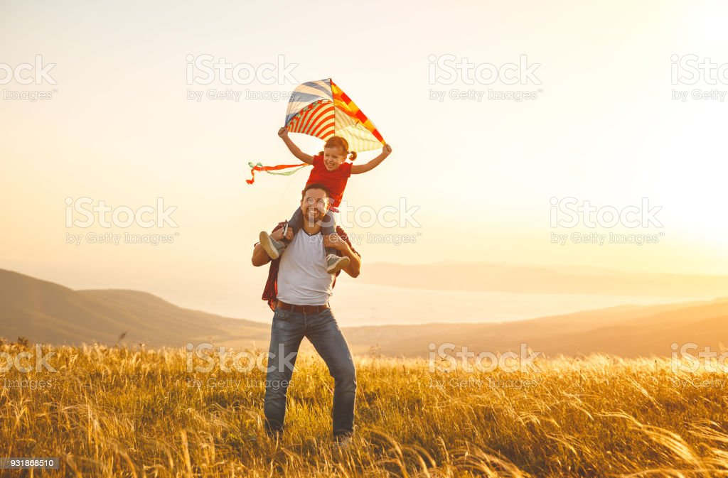 Happy Family Father And Child Daughter Run With Kite On