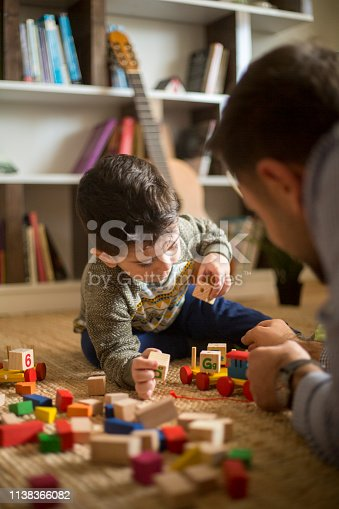 540396126istockphoto Happy family father and child son playing 1138366082