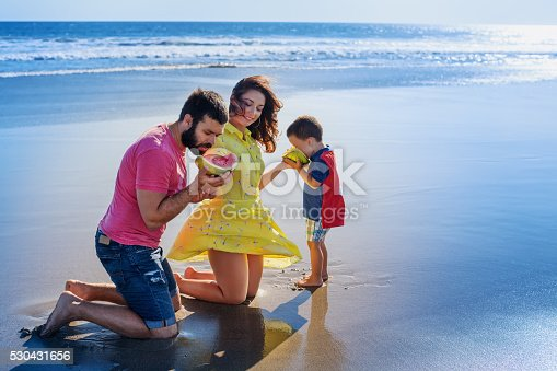 istock Happy family funny picnic on sand beach with sea surf 530431656