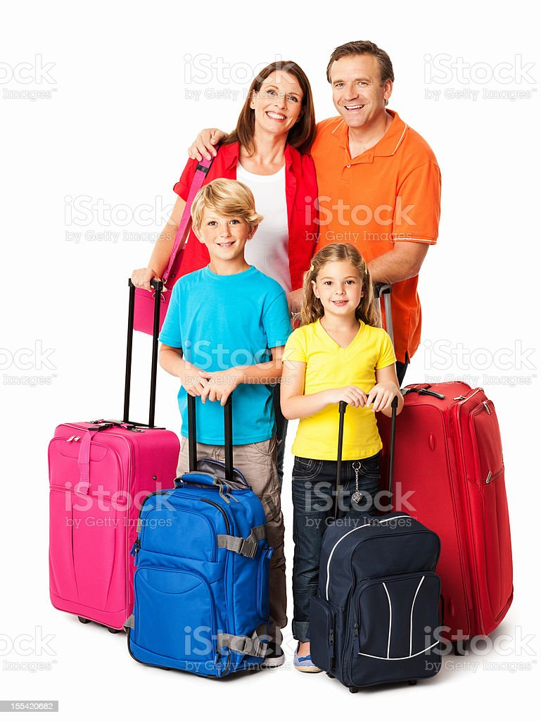 Happy Family Going For a Vacation - Isolated royalty-free stock photo