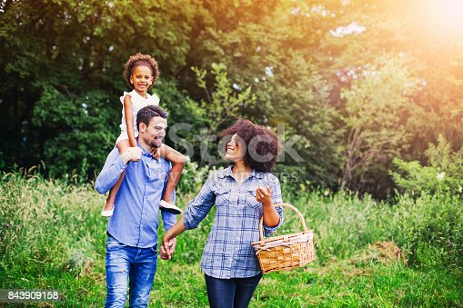istock Happy family going for picnic 843909158