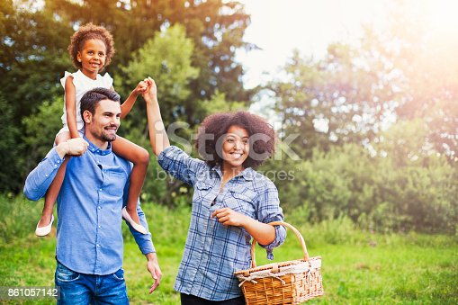 istock Happy family going for picnic 861057142