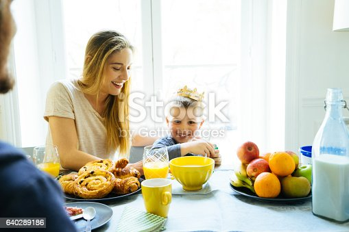 istock Happy Family Having Breakfast Together At Home 640289186