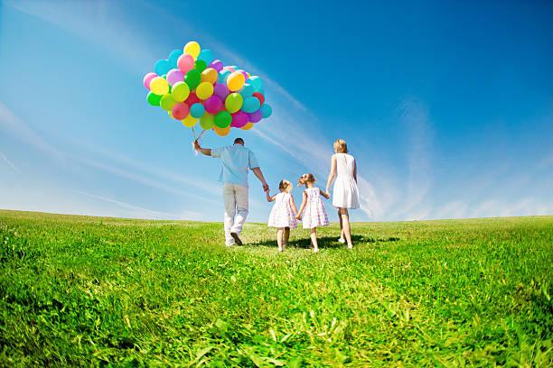 행복함 부품군 쥠 색상화 풍선 야외. 엄마, 공제, 스톡 사진