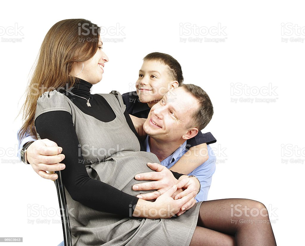 Happy family hugging isolated on white royalty-free stock photo
