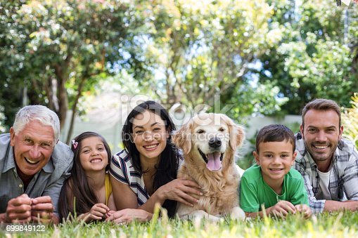 istock Happy family in a park 699849122