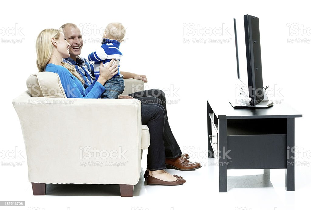 Happy family in a white background royalty-free stock photo