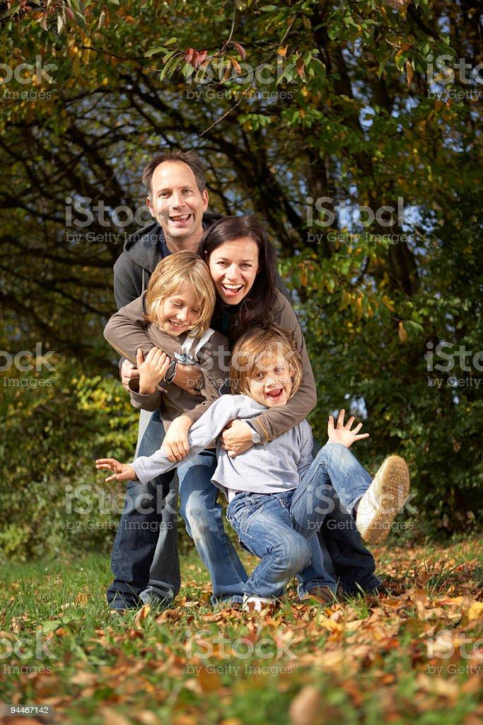 happy family in autumn royalty-free stock photo
