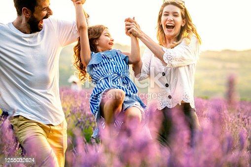 Happy family in lavender field