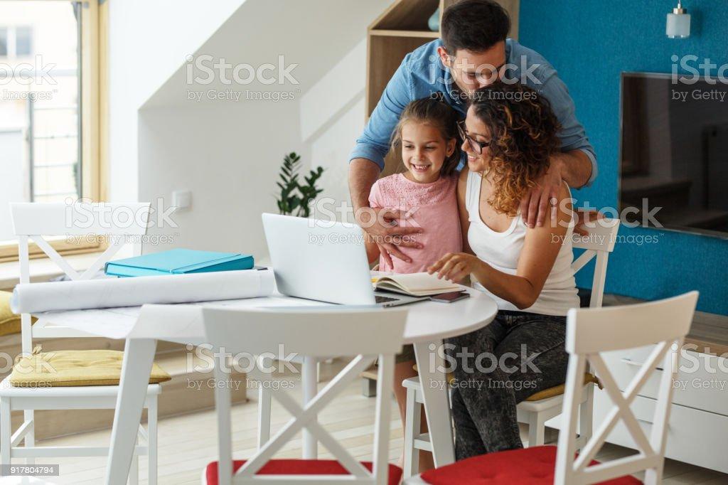 Happy family in living room stock photo
