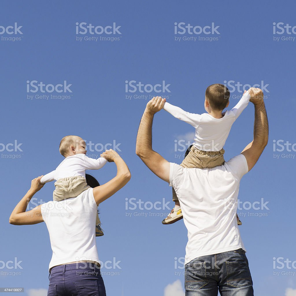 Happy family in nature royalty-free stock photo