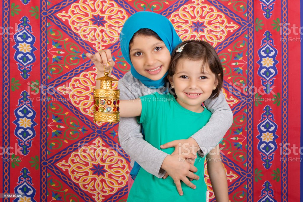 Happy Family in Ramadan stock photo