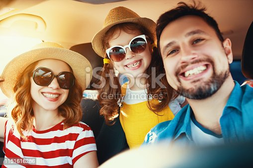 147878016 istock photo happy   family  in summer auto journey travel by car on beach 1151616286