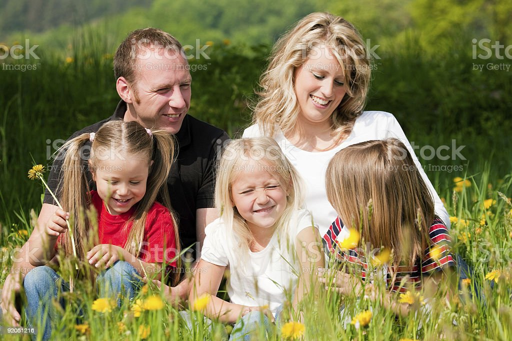 Happy family in summer royalty-free stock photo