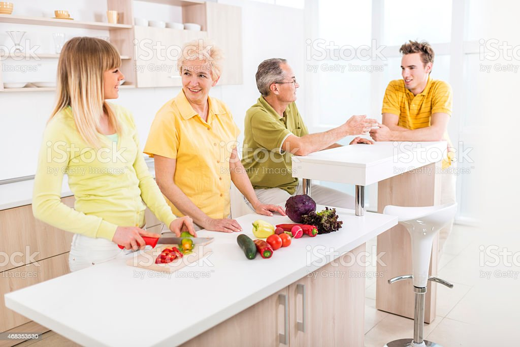Happy family in the kitchen. royalty-free stock photo
