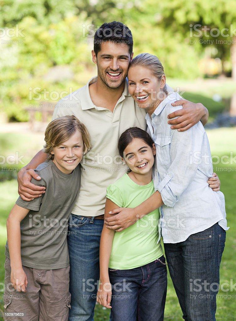 Happy family in the park royalty-free stock photo